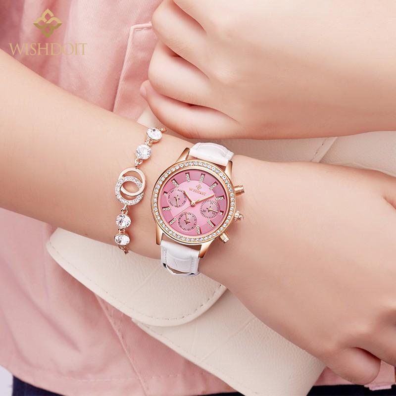Đồng hồ mặt tròn phối dây đeo bằng da thời trang dành cho nữ