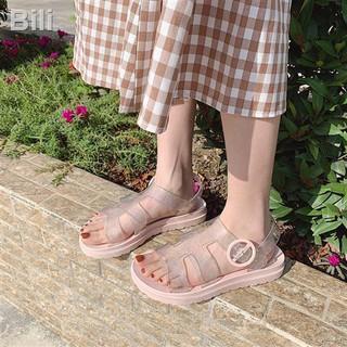 Dép nữ mùa hè đế bằng tất phù hợp với kỳ nghỉ dễ thương trong suốt La Mã thumbnail