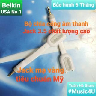 [Mã ELFLASH5 giảm 20K đơn 50K] Cáp chia cổng âm thanh 3.5mm, hãng Belkin, mạ vàng chất lượng cao [Music4U]