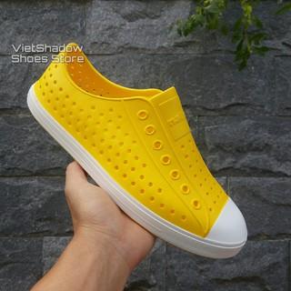 Giày nhựa siêu nhẹ nam nữ - Chất liệu nhựa xốp siêu nhẹ, không thấm nước - Màu vàng viền trắng thumbnail