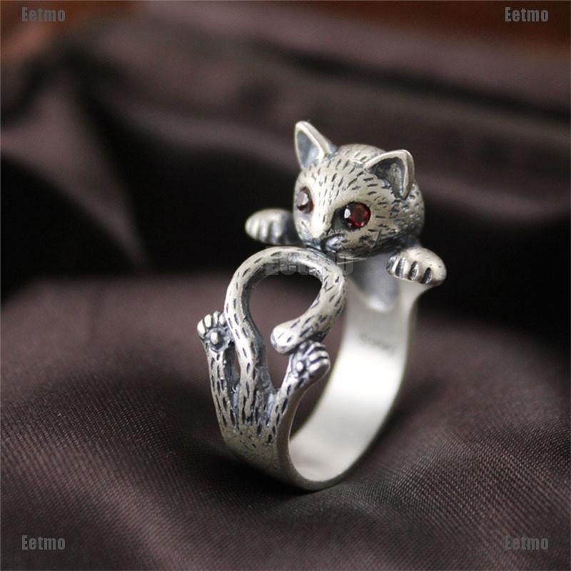 Nhẫn hợp kim đeo tay màu bạc hình chú mèo xinh xắn