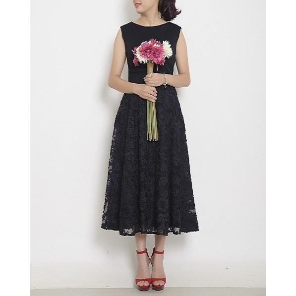 1029974275 - Váy đầm Hersense midi chân váy ren hoa nổi mầu đen, cổ thuyền (D028-S/M)