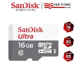 Thẻ nhớ microSDHC SanDisk Ultra 16GB 533x upto 80MB/s - Hãng phân phối chính thức