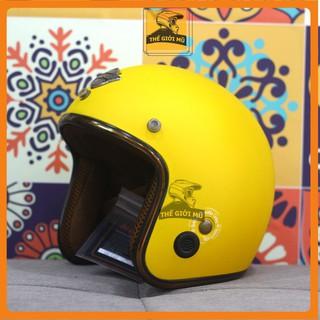 Mũ bảo hiểm 3 4 đầu Napoli SH màu vàng nhám vintage, bảo hành 12 tháng, free size thumbnail