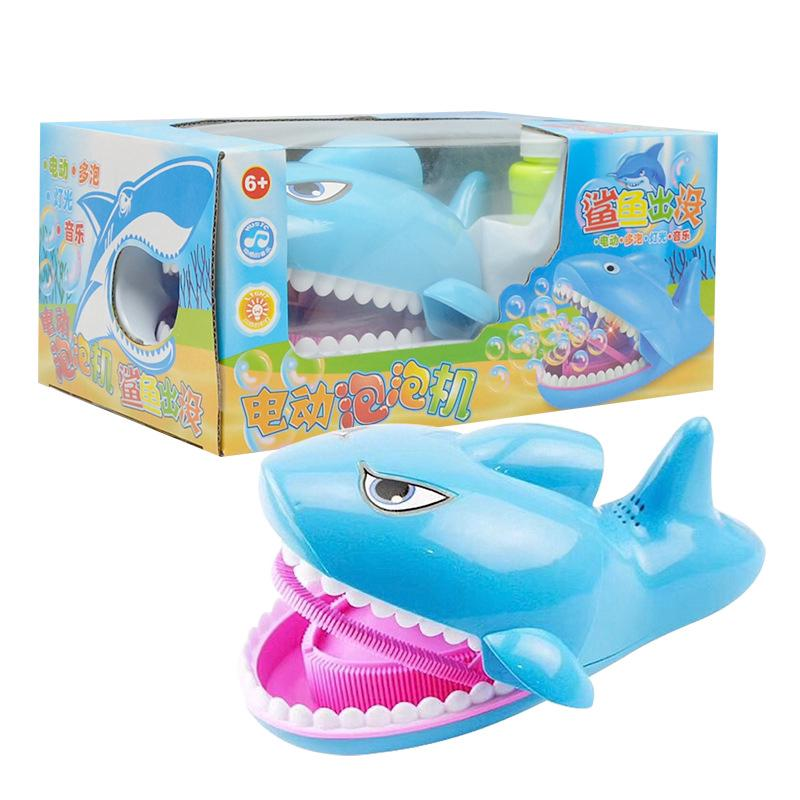 Electric shark bubble machine toys light music outdoor toys