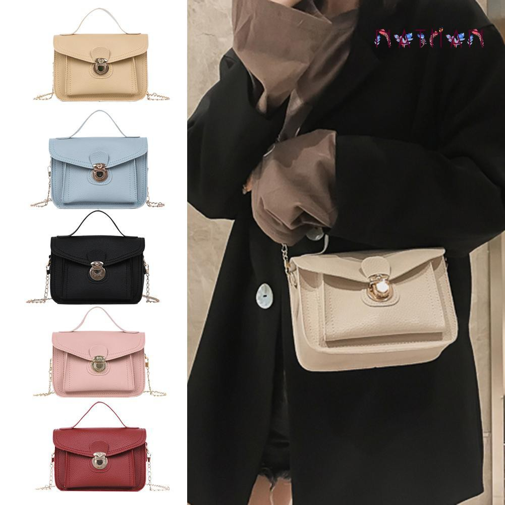 nathan fashion❀Solid Color Crossbody Shoulder  Women Small Chain Bags