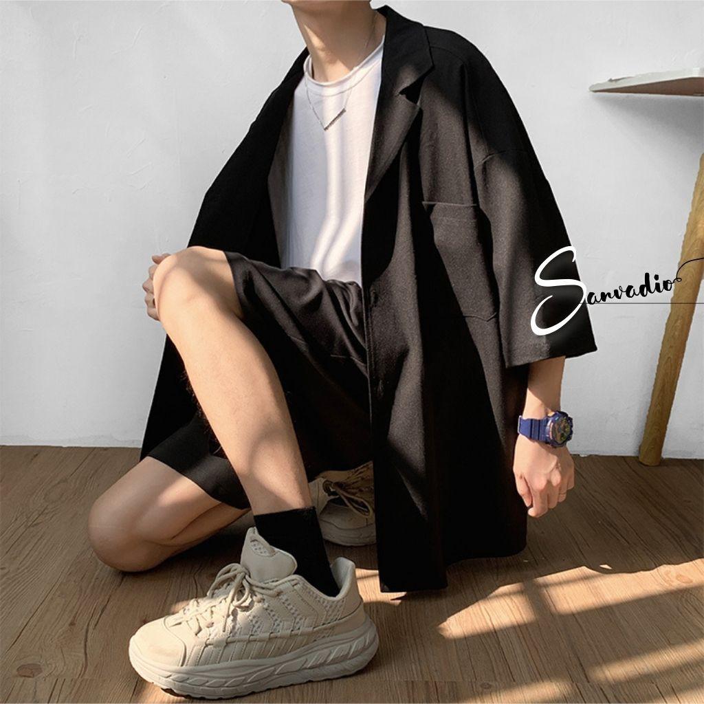 SET BLAZER NAM SANVADIO-blazer nam hè thu-form dáng unisex phong cách ullzang SC03