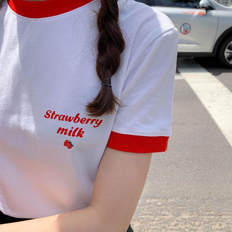 เสื้อยืดแขนสั้นสไตล์เกาหลีแฟชั่นสตรี