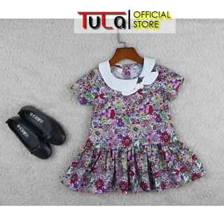Váy Đầm Cho Bé Gái Phối Màu Họa Tiết Hoa Nhí Tím Hồng Cực Xinh Vải Thô Hàn Quốc
