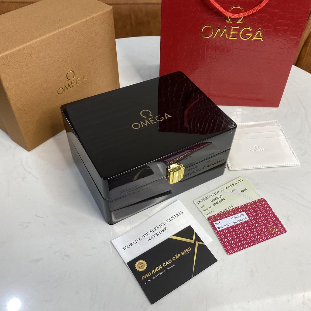Hộp đồng hồ Omega đi kèm tag sổ thẻ, hộp đựng đồng hồ quà tặng cao cấp trangmoonshop