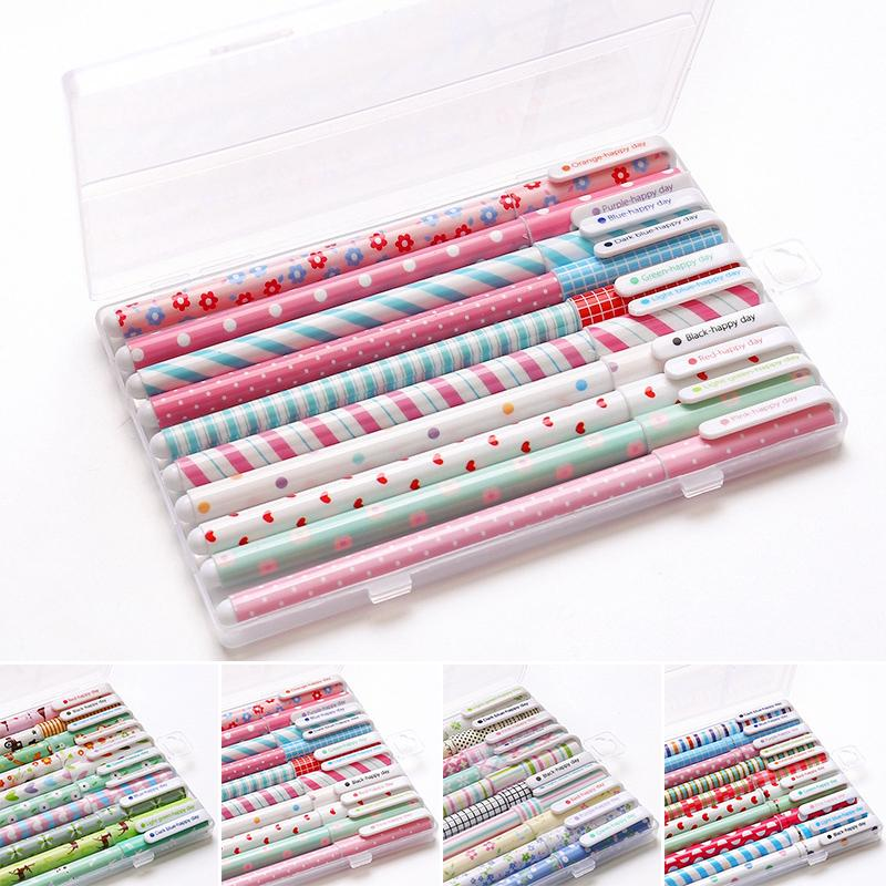 10 Colors Set Floral Pattern 0.38mm Gel Ink Pen Office School Writing Stationery