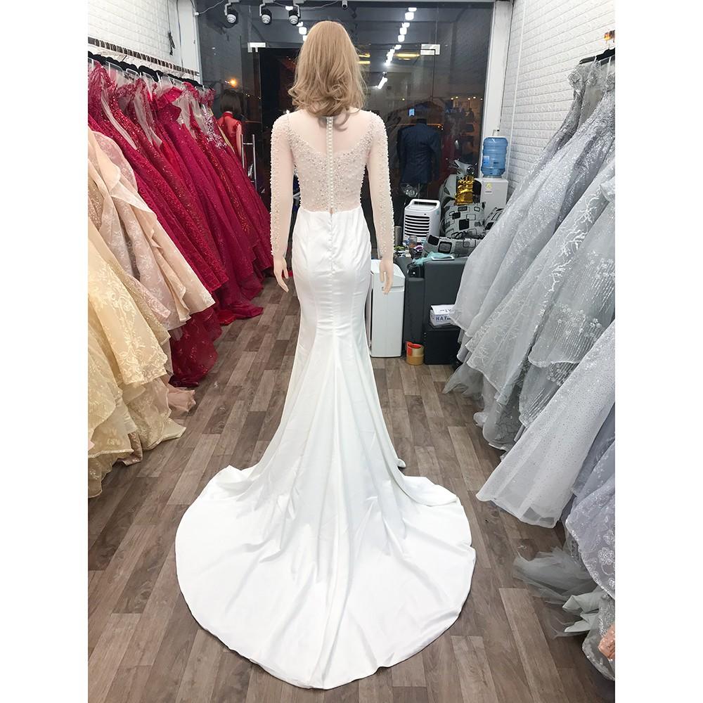 áo cưới dòng luxury đuôi cá màu trắng ACCL0002