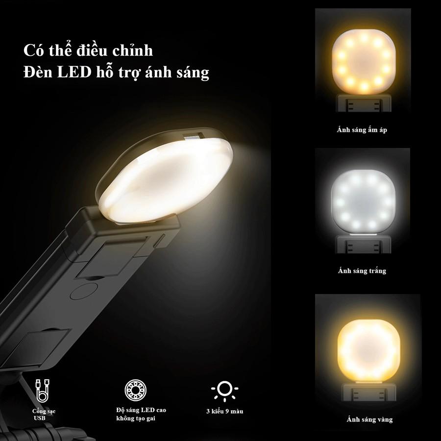 Gậy Tự Sướng chụp hình Avohero L-01 cây chụp ảnh có chân đứng và 2 đèn LED hỗ trợ livestream