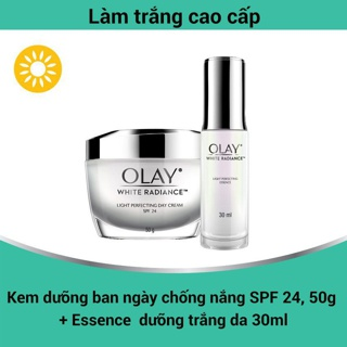 Bộ 2 sản phẩm dưỡng trắng da Olay White Radiance Kem dưỡng ngày 50G Essence 30ML