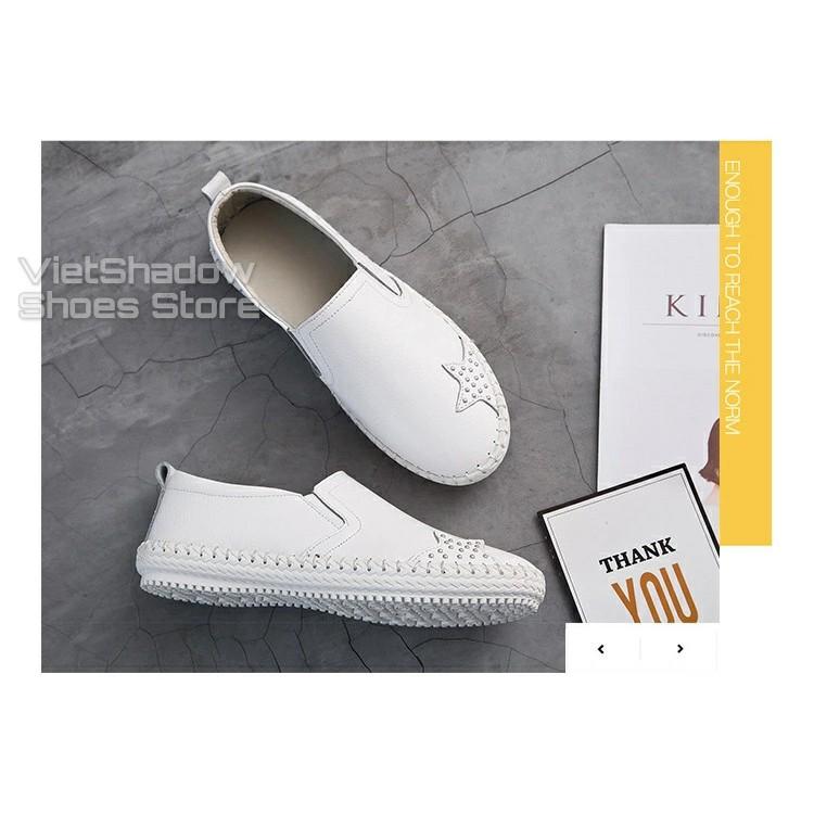 Slip on da nữ - Giày lười da nữ đế khâu - Chất liệu bò 2 màu đen và trắng - Mã SP 621