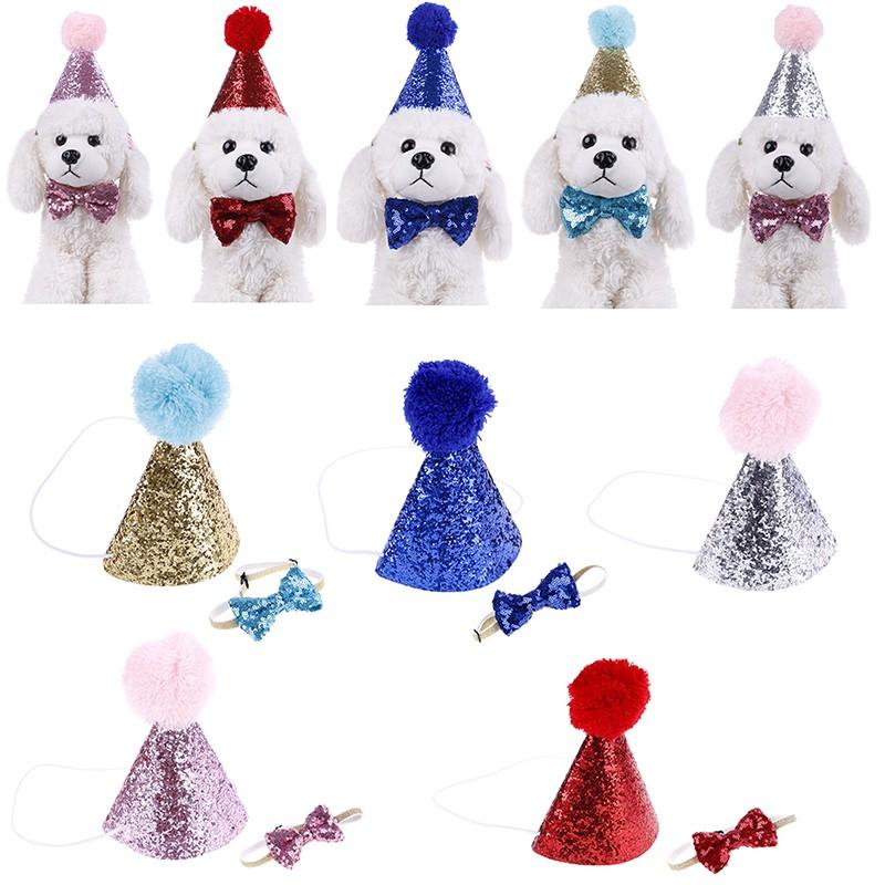 Pet happy birthday hat party crown & bow tie soft cap puppy headwear