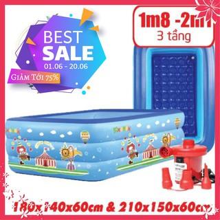 ( Sale ) Bể Bơi Phao Cho Bé – 1m8 + 2m1 – 3 Tầng – Có Đáy Chống Trượt