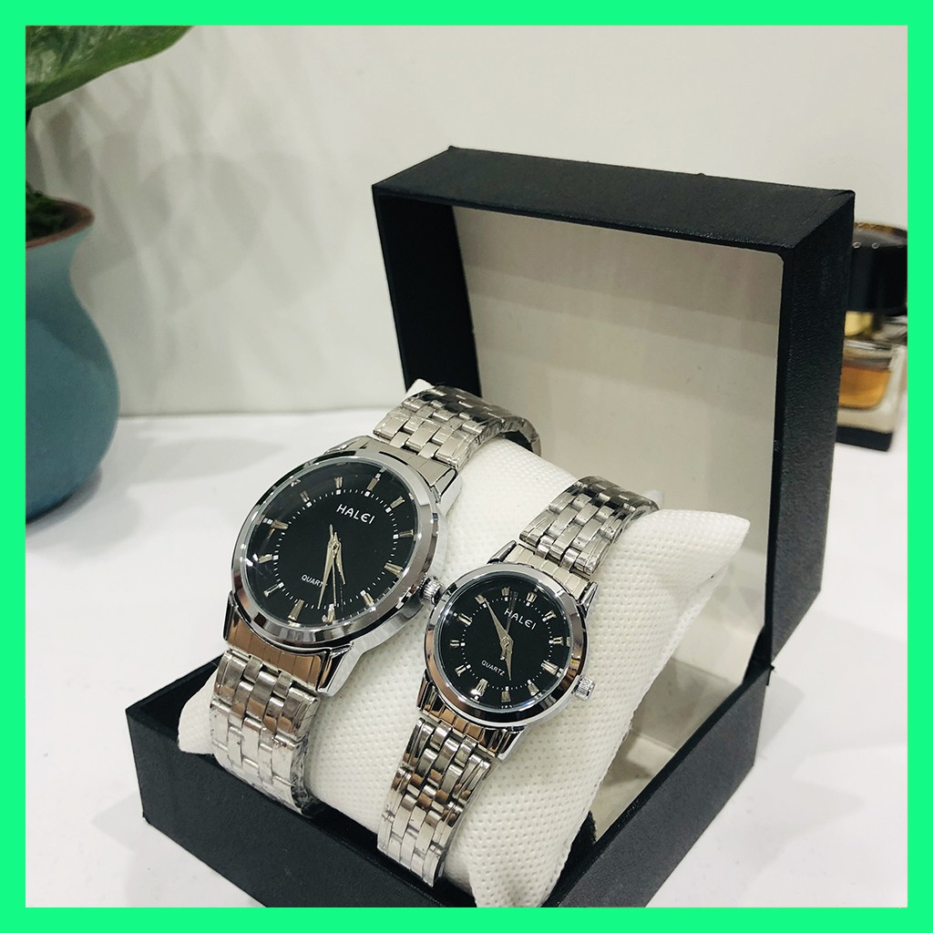 Đồng hồ đôi cặp nam nữ Halei giá 1 đôi chống nước tặng pin