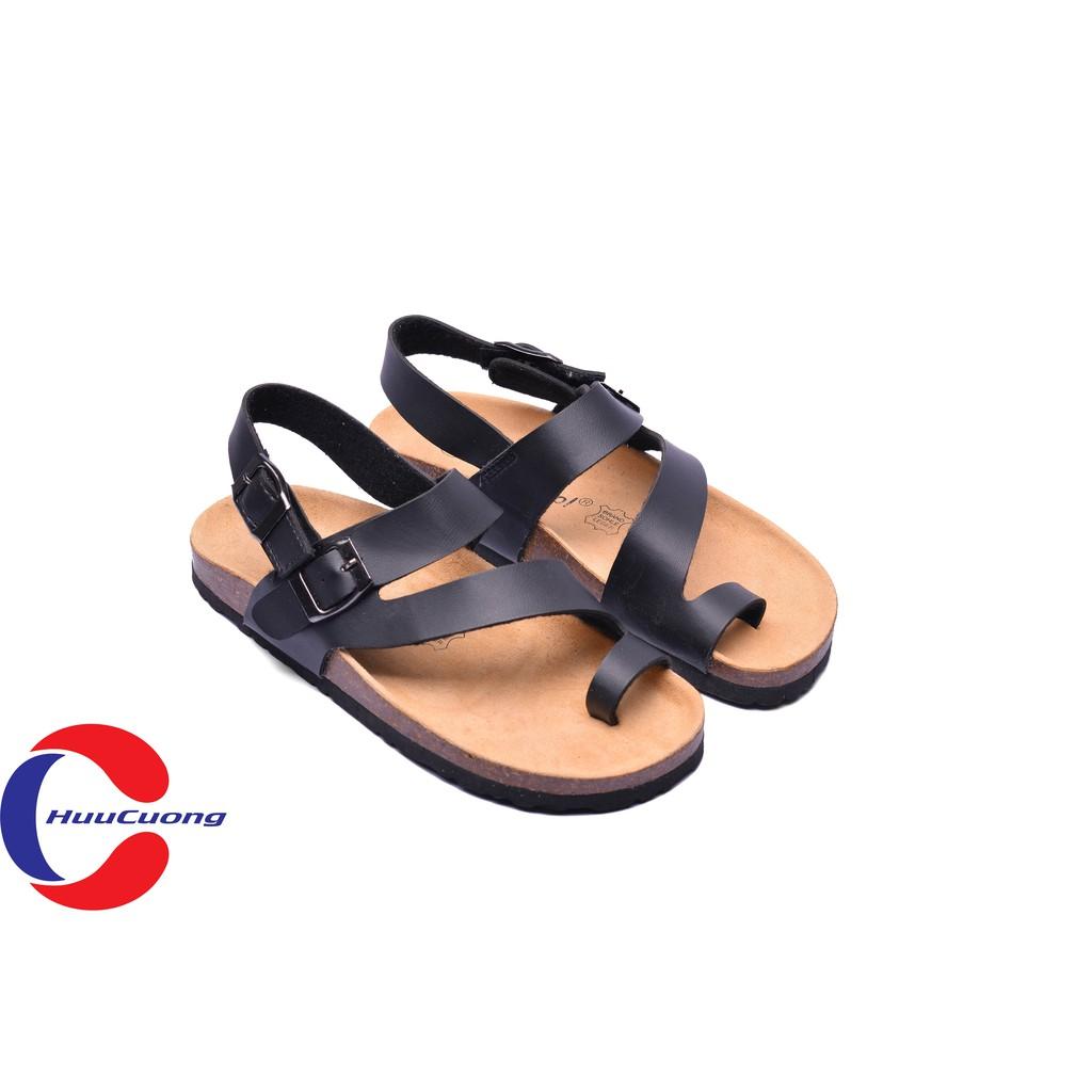 Giày sandal  -xỏ ngón tròn đế trấu( đen)