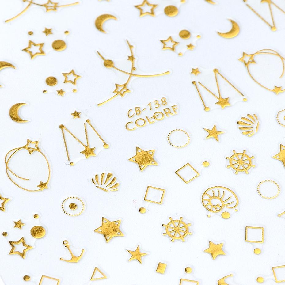 Tấm miếng dán nổi trang trí móng tay nghệ thuật họa tiết trăng sao 3D thời trang