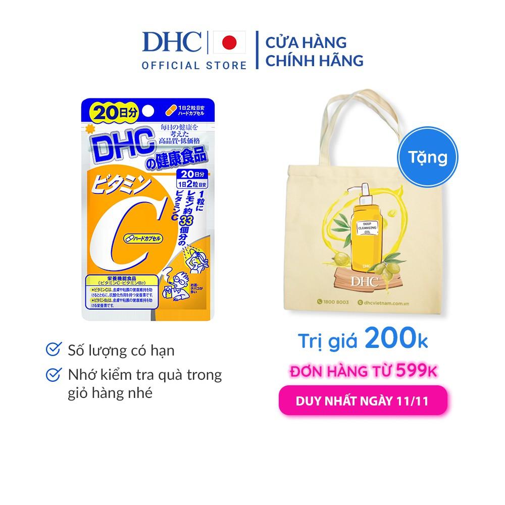 [Mã FMCG10 - 10% đơn 250K] [Mã COSDHC giảm 10% đơn 250K] Viên uống DHC bổ sung vitamin C Nhật Bản 20 Ngày (40v/gói)