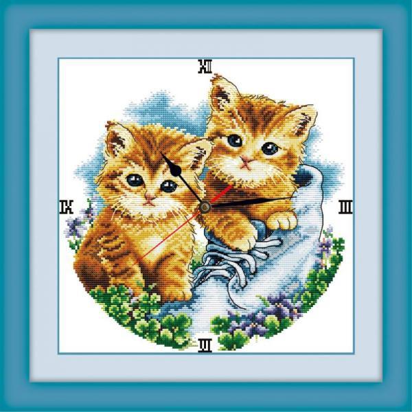 Tranh thêu chữ thập chưa thêu Đồng Hồ Mèo Con Y8005