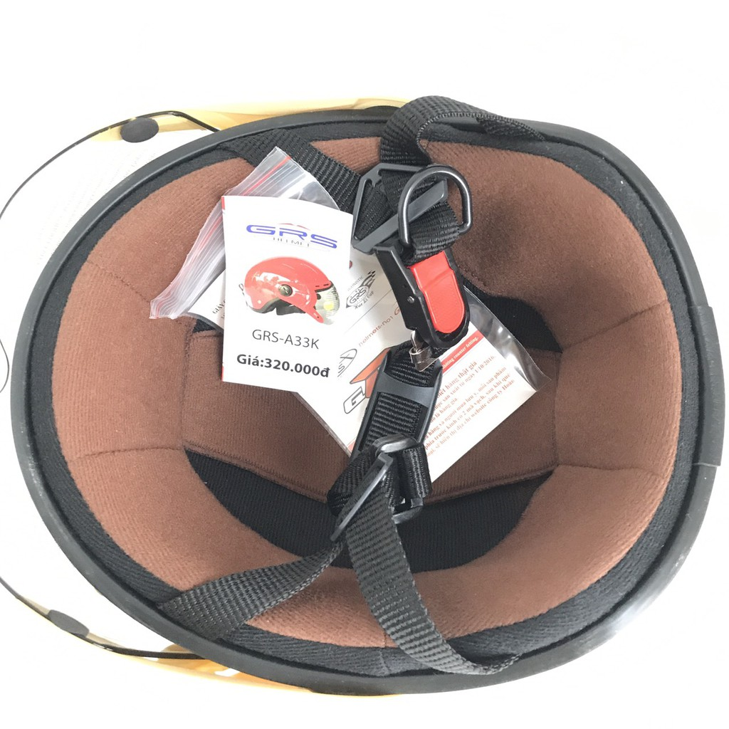 Mũ bảo hiểm nửa đầu có kính - Dành cho người lớn vòng đầu 56-58cm - GRS A33K - Trắng - Nón bảo hiểm Nam - Bảo hiểm Nữ
