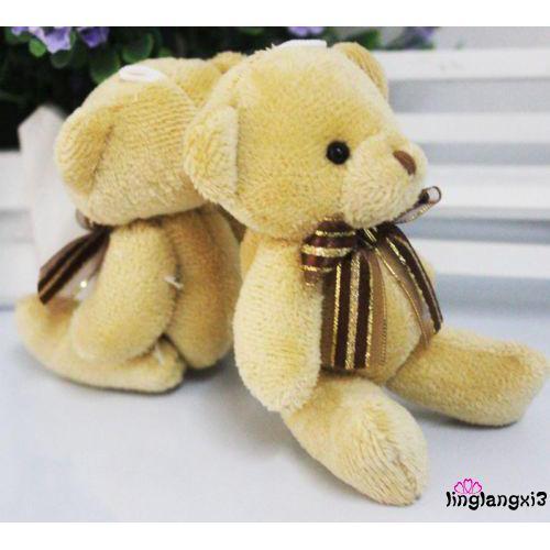 .AN-Cute Soft Plush Stuffed Mini Brown Ribbon Teddy Bear Toys Doll for Kids Toy