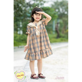 [Nhập BONGSHU12 giảm 20k] Váy kẻ BBR cho bé gái 20-30kg