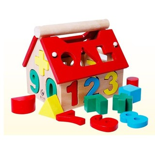 [SALE] Ngôi nhà gỗ thả hình và số phát triển trí tuệ cho bé – ĐỒ CHƠI GỖ