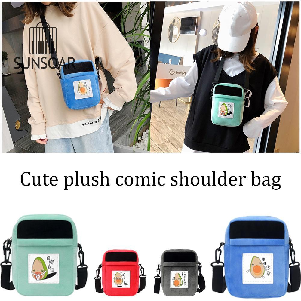 SUN❤❤ Plush Soft Messenger Bags Women Lovely Cute Shoulder Handbag Phone Purse