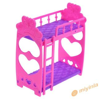 12❀ 7pcs Cute Dolls House Furniture Plastic Bunk Bed Play House Toys Girl Gift