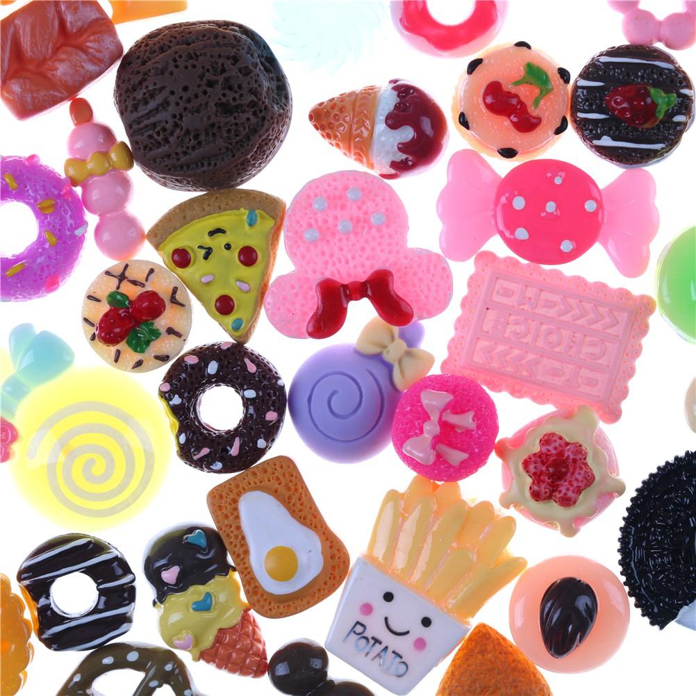 HBVN 10 Pcs Lovely Dollhouse Resin cake Food Model for DIY Phone Decoration