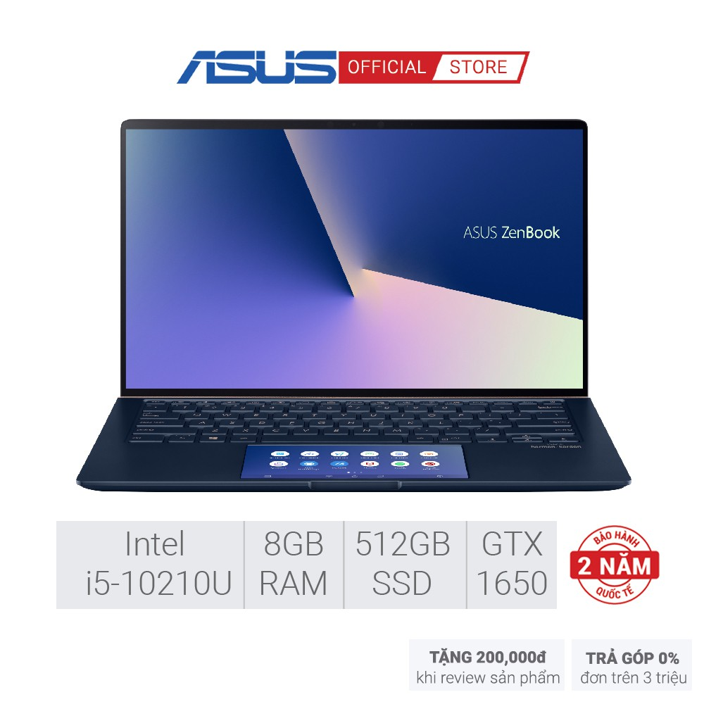 Laptop ASUS ZenBook UX534FTC-A9169T (i5-10210U/8GD3/512G-PCIE) 15.6FHD - màu BẠC