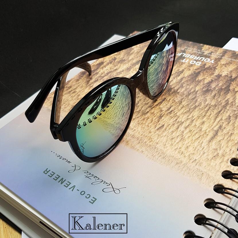 Gọng kính mắt thời trang nam nữ - Kính râm gọng tròn tráng gương với tròng chống tia UV400 cao...