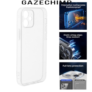 [GAZECHIMP] Case Compatible with 12/12 Pro, Tempered Glass Screen Protector Full Case Cover (Clear)