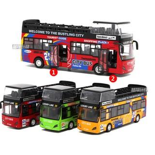 Ô tô xe buýt 2 tầng bằng sắt đồ chơi trẻ em xe chạy cót có âm thanh và đèn