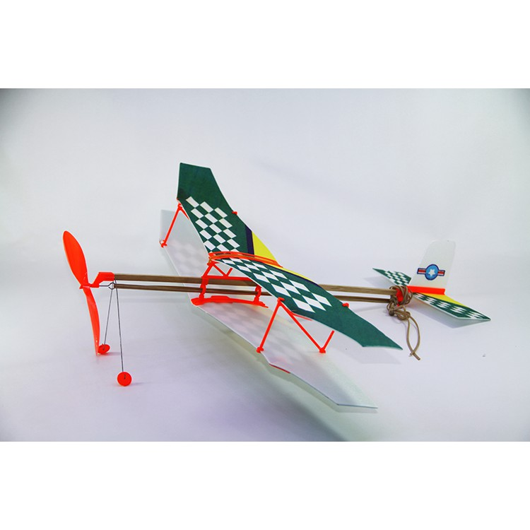 Bộ mô hình tự lắp (DIY) máy bay cánh 2 tầng chạy bằng dây chun