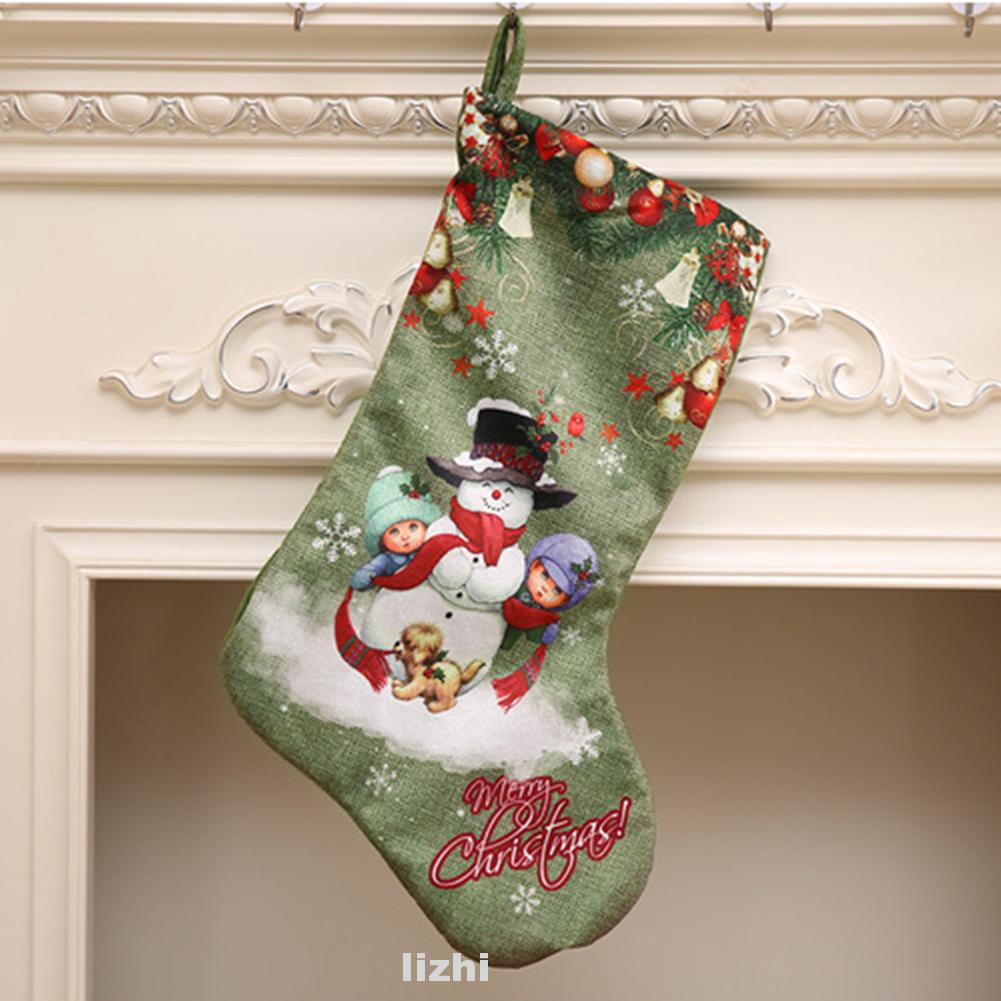 Stocking Christmas Printed Cute Decoration Reindeer Snowman Home Hanging Santa Claus Large
