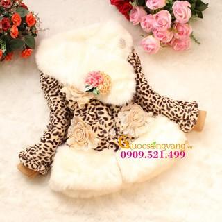 Áo khoác bé gái áo khoác lông bé gái màu da beo GLA092