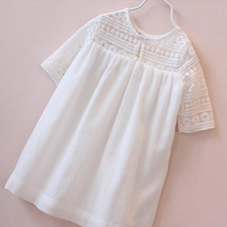 Đầm suông chữ A tay ngắn phối ren dễ thương cho bé gái