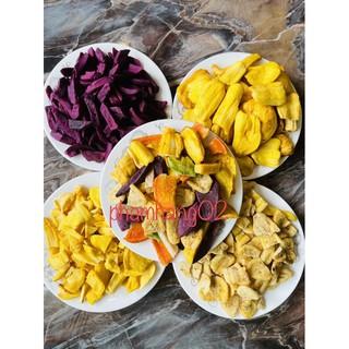 150gr Hoa quả sấy (Trái cây sấy) | Thập cẩm sấy vỡ, mít sấy vỡ, mít B, chuối sấy vụn, khoai lang tím sấy vụn