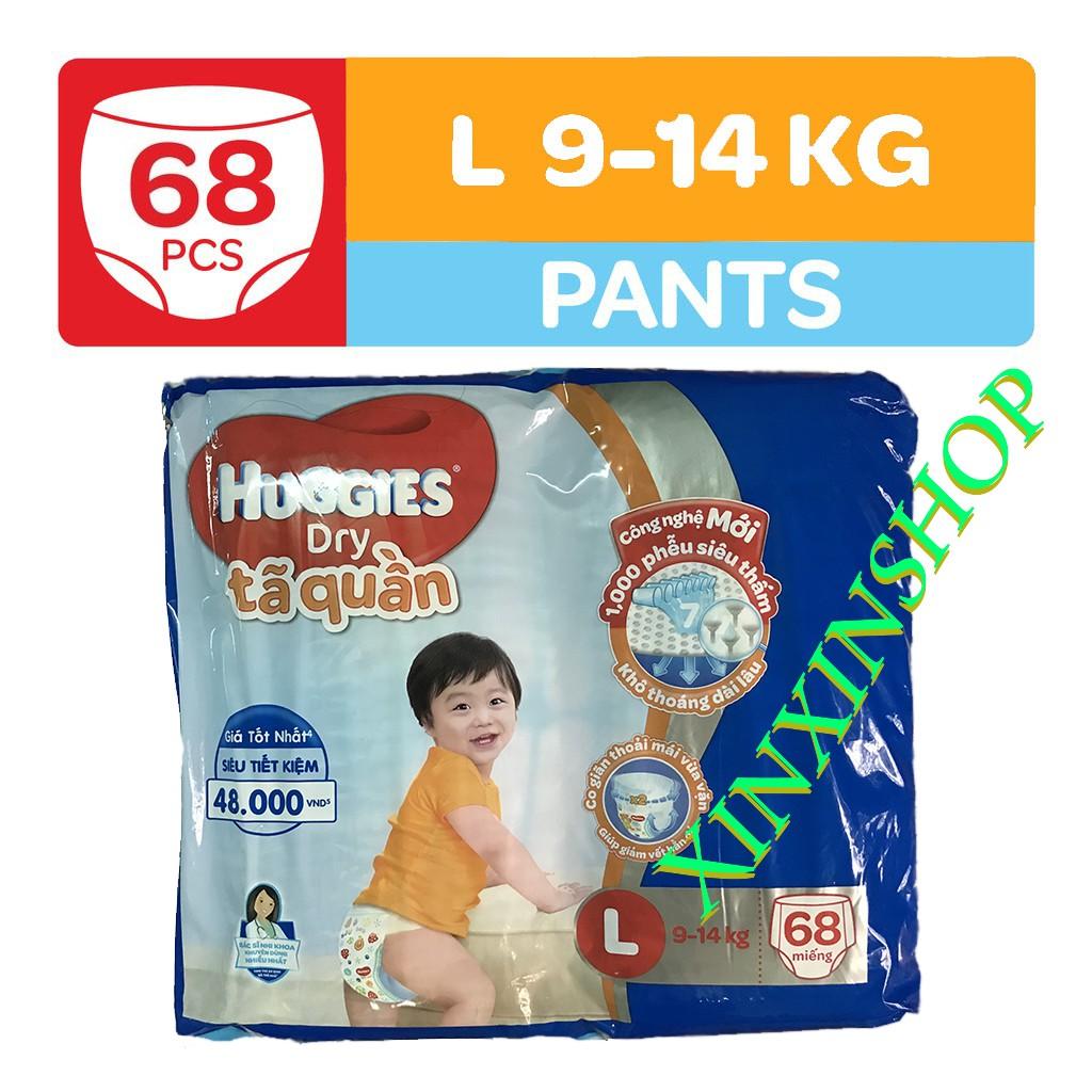 Bỉm Tã quần HUGGIES DRY PANTS SUPER JUMBO L68