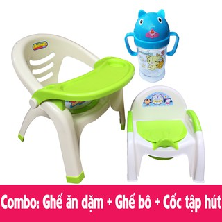 [Nhập TKBSUPERSALE1 giảm 10%] Combo 3 món Ghế ăn dặm, Ghế Bô, Cốc tập hút nước cho Bé – Made in Việt Nam