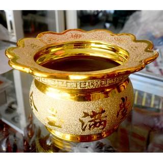 Lư hương thờ cúng kim sa vàng-có khay hứng tàn nhang thumbnail