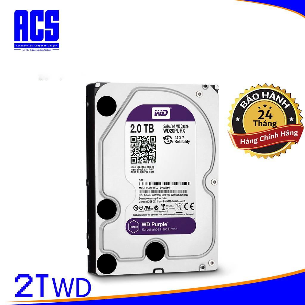 Ổ cứng camera WD Purple 2TB WD20PURX – Hàng chính hãng – BH 2 năm – 1 đổi 1 Giá chỉ 1.058.500₫