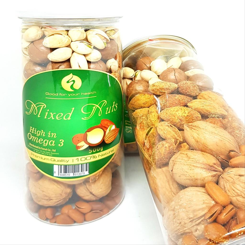 Hộp Mixed Nuts 6 in 1 ( 500gr) (Óc chó, hạnh nhân, Thông Mỹ, macca, Hồ Đào, hạt dẻ cười.)