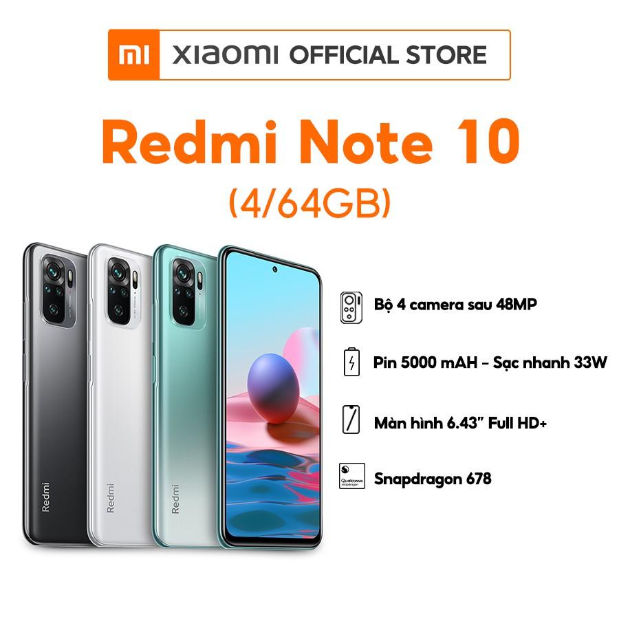 Điện thoại Xiaomi Redmi Note 10 (4GB/64GB) | Hàng chính hãng | Bảo hành 18 Tháng