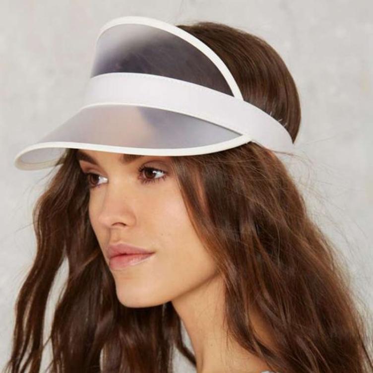 abd Unisex outdoor transparent sunscreen PVC plastic sun hat empty top sun hat cap