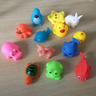Animal swimming water toy colorful soft floating rubber duck bark bath toy baby